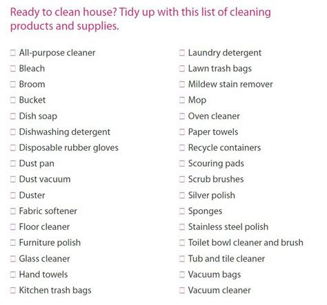 cleaning supplies checklist cleaning supply checklist cleaning pinterest