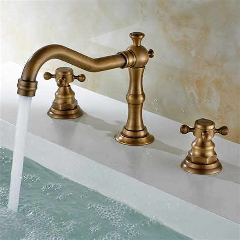 antique sink faucet brass finish widespread bathroom sink