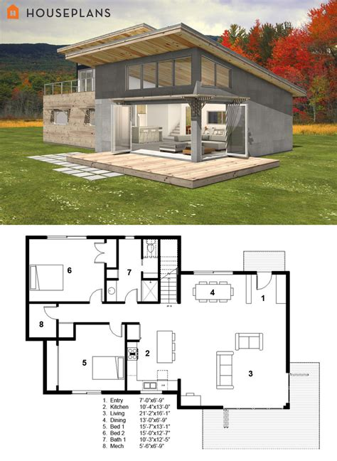 small modern cabin house plan by freegreen energy