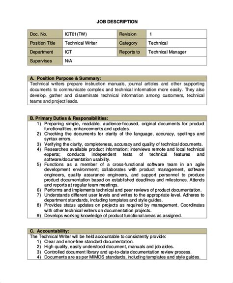 Technical Writer Description by Sle Technical Writer Description 9 Exles In Pdf
