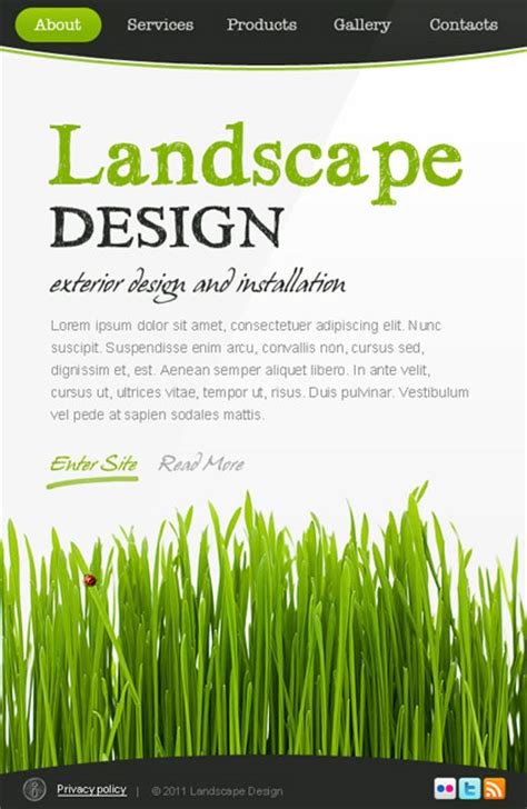 landscape design facebook template html5 web templates