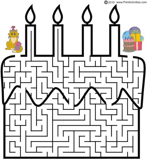 printable cat maze birthday cake maze guide the cat through the maze to the