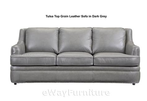 tulsa top grain leather sofa in grey