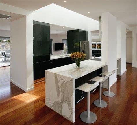 Kitchen With Breakfast Bar Designs honed calcutta marble waterfall effect center island