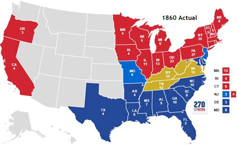 us map of the election of 1860 presidential election of 1860