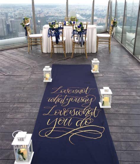 Navy Wedding Aisle Runner the write touch aisle runner navy blue and gold wedding