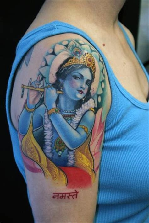 flute tattoo lovely deity krishna with flute on shoulder