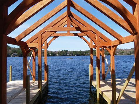 hand crafted wood hammer beam boat house  lake sunapee