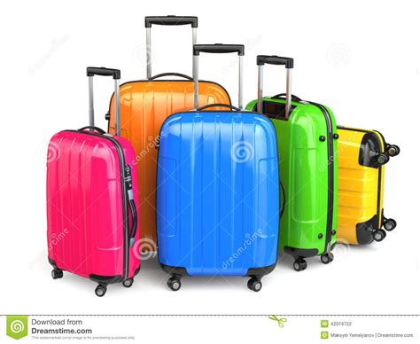 colorful luggage luggage colorful suitcases on white background stock