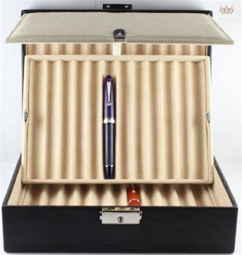Leather Fold Out by Wolf Black Teju Lizard Faux Leather Fold Out Pen Box For