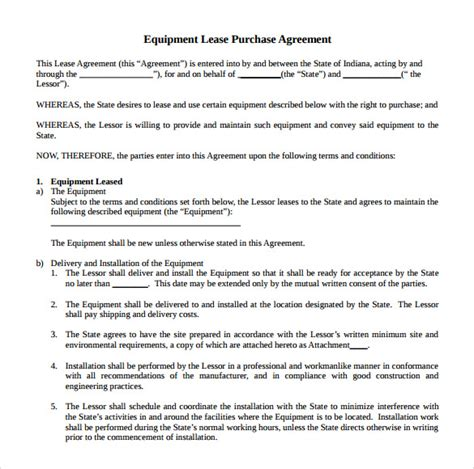equipment lease contract template sle equipment rental agreement template 14 free