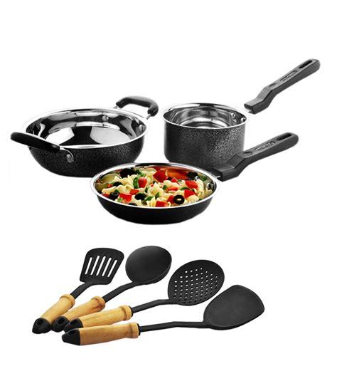 induction kitchen set pepperfry deal lifelong induction cookware set of 3 and kitchen tool set of 4 rs 799 deals