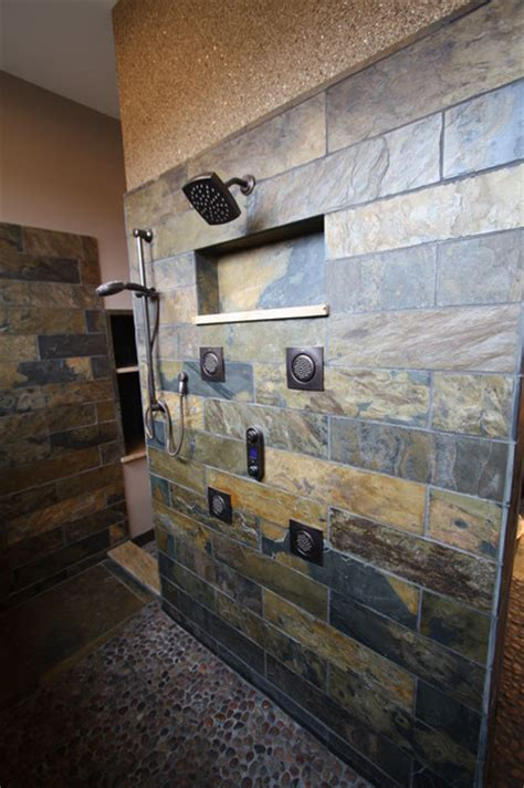 rustic bathroom tile slate tiled shower rustic bathroom cleveland by