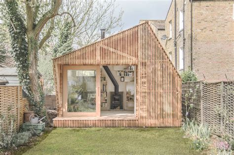 shed style architecture wsd architecture inserts writer s shed into uk back garden