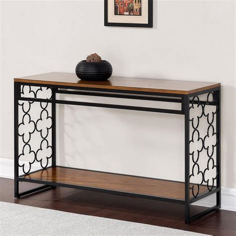 Quatrefoil Console Table Quatrefoil Black And Pecan Top Sofa Table