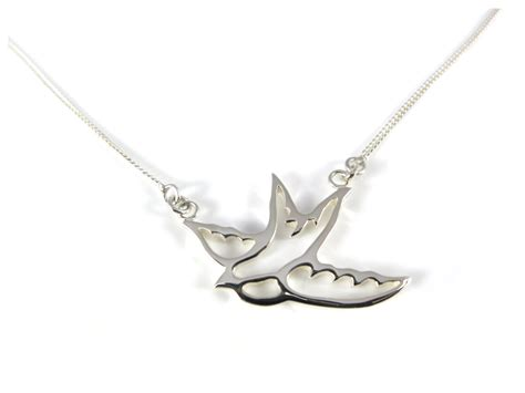 sterling silver small bluebird necklace silver