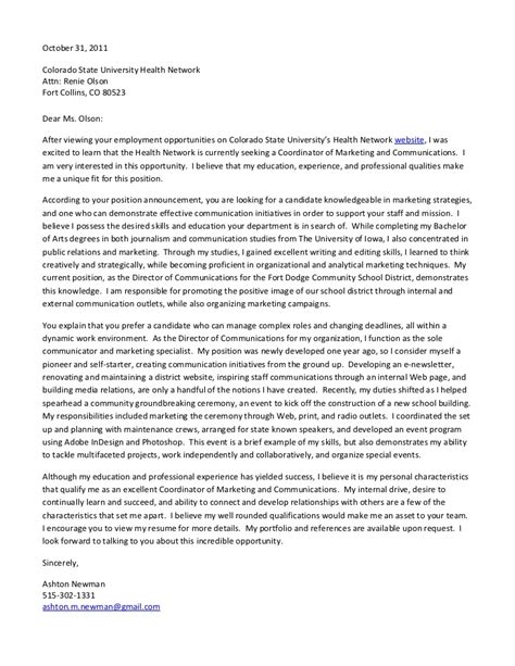 communications cover letter exles cover letter csu coordinator of marketing and communications