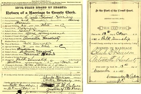 Benton County Marriage Records Benton County Iowa Researcher Contributed Marriage Records
