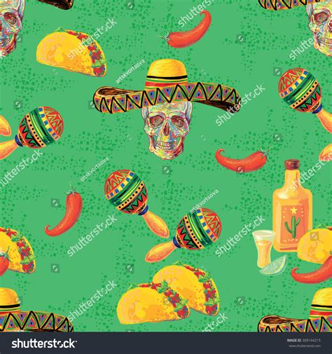 perfect pattern password mexican vector seamless music pattern with skull sombrero