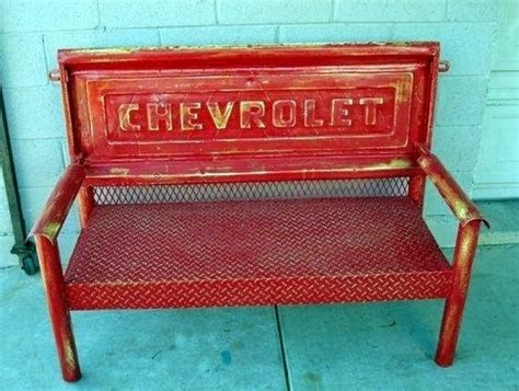 bench made from truck tailgate upcycled chevy pickup tailgate bench front porch