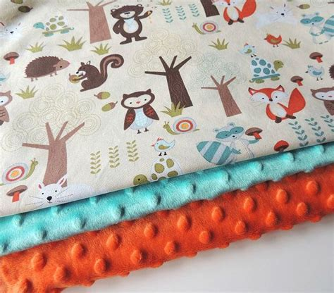 woodland creatures baby bedding baby blanket ready to ship aqua forest animal minky