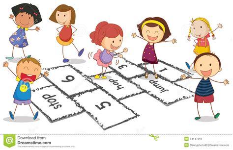 imagenes de niños jugando la rayuela enfants et jeu de marelle illustration de vecteur image