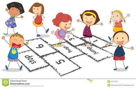 dibujos de niños jugando rayuela enfants et jeu de marelle illustration de vecteur image