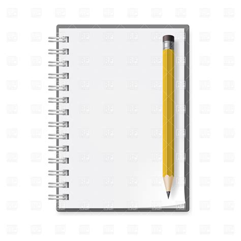 armed with a pad of paper and pencil she began to survey her neighbors notepad and pencil with eraser royalty free vector clip