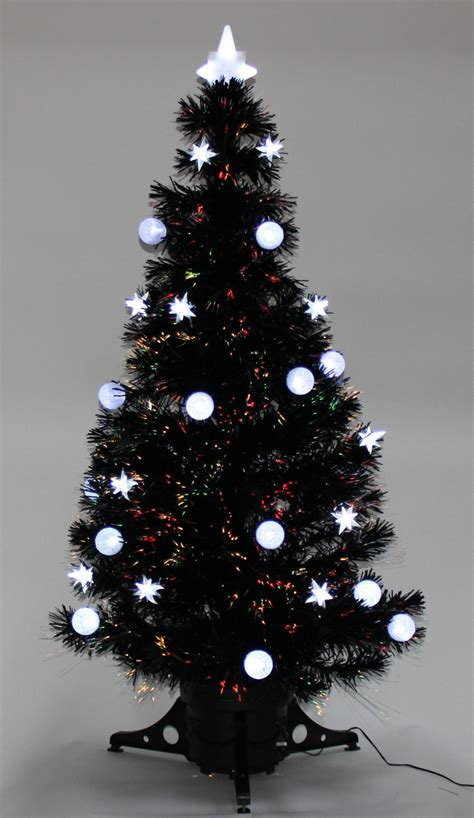 morrisons 6ft christmas tree tree 4ft 5ft 6ft black fibre optic and bauble decorated trees new ebay