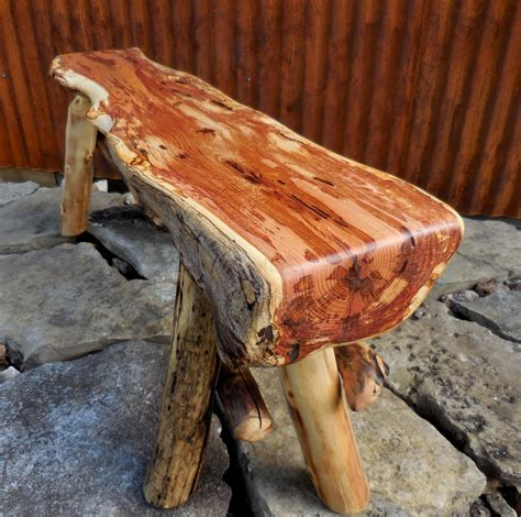 Wood Slab Bench Flame Box Elder Reclaimed Wood Bench