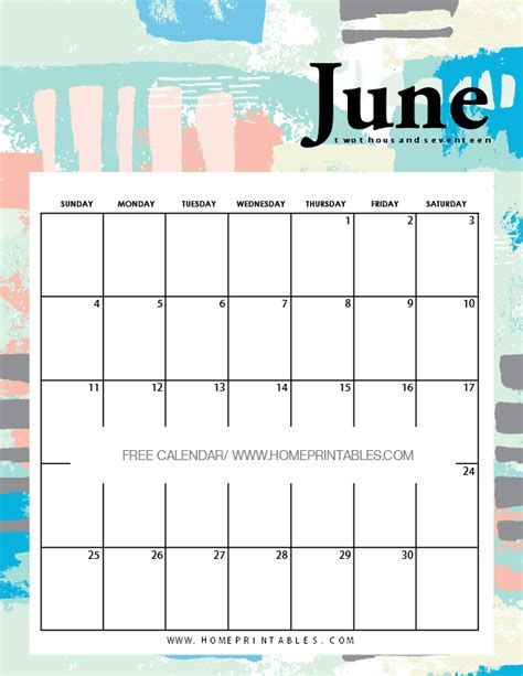 Calendar For Home June 2017 Calendar Printable 8 And Pretty Designs
