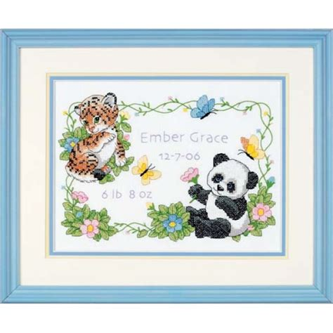 Cross Stitch Baby Birth Record Baby Animals Birth Record Kit Sted Cross Stitch At Weekend Kits