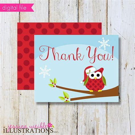 printable thank you cards christmas theme christmas owl theme printable christmasthank by