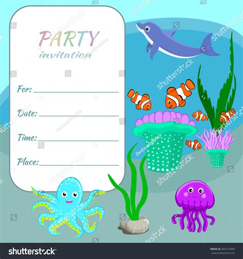 colorful invitation card template children invitation card template colorful stock