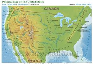 united states physical geography map lorimills social studies unit 4