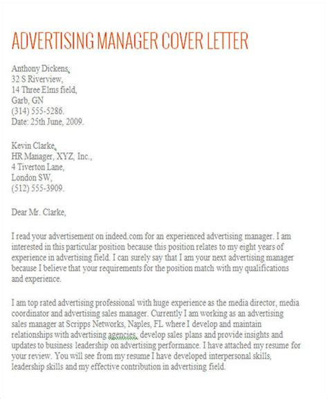 Account Manager Cover Letter With No Experience Account Manager Cover Letter 8 Exles In Word Pdf