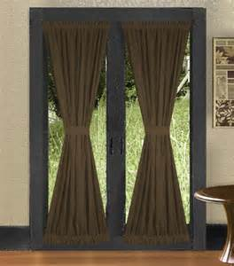 Curtain Over Bed Solid Brown Colored French Door Curtain Available In Many