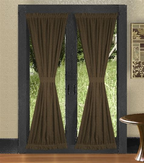 Solid Brown Colored French Door Curtain Available In Many