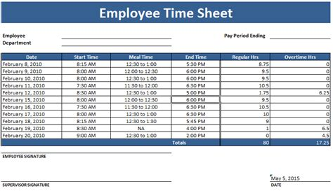 Employee Timesheet Template Weekly And Monthly Weekly Timesheet Template For Employees