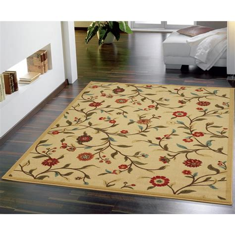 5 X 6 Area Rugs Ottomanson Floral Garden Design Beige 5 Ft X 6 Ft 6 In Non Skid Area Rug Oth2092 5x7 The
