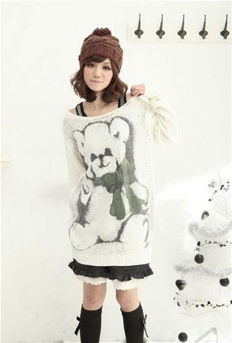 Japan Sweater teddy knit sweater white japan kawaii sweaters