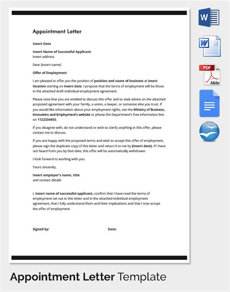 appointment letter template letter of employment appointment