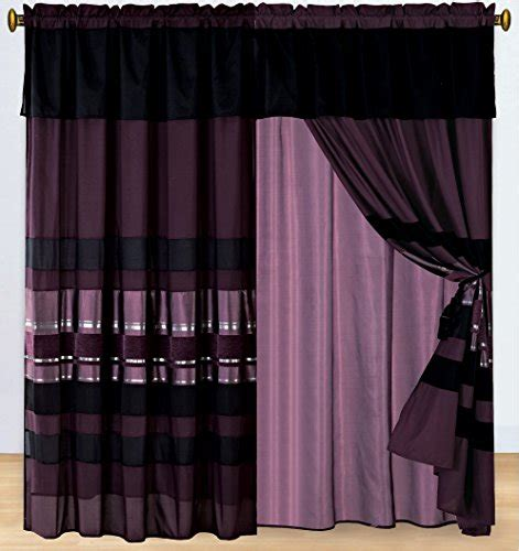 eggplant curtains window treatments 4 piece eggplant purple black silver stripe chenille