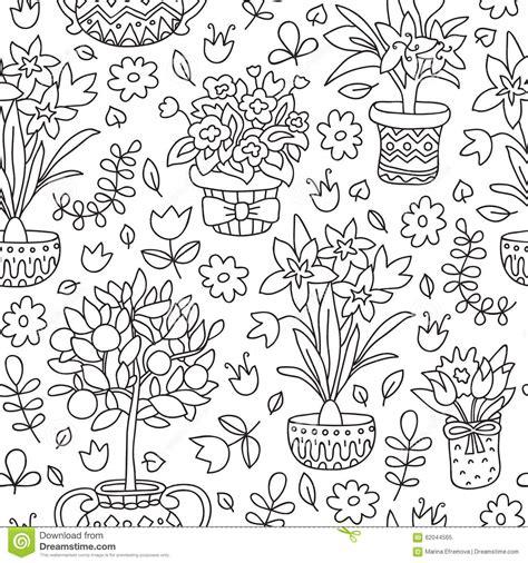 doodle plants seamless pattern doodle plants in pots floral background