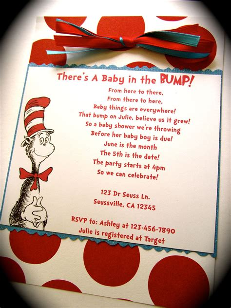 Cat In The Hat Baby Shower Invitations by Dr Seuss Cat In The Hat Inspired Baby Shower Or Birthday