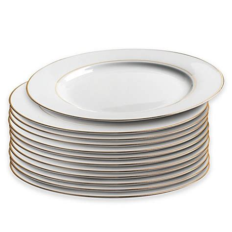 bed bath and beyond dinner plates caterer s dinner plate with double gold band set of 12