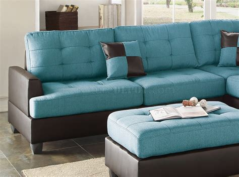 3pc Sectional Sofa F6859 Sectional Sofa 3pc In Teal Fabric By