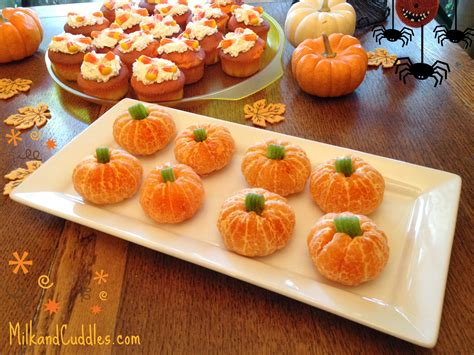 party food recipe tips for candy corn cupcakes and orange pumpkins