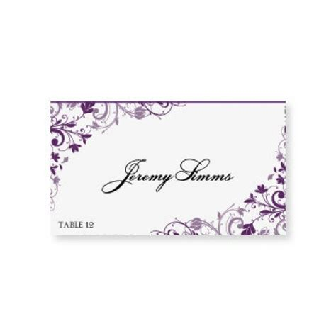 Instant Download Wedding Place Card Template Chic Bouquet Plum Foldover Microsoft Word Microsoft Word Place Card Template