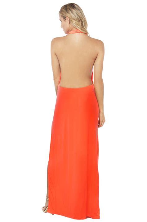 754 Dress Open Sude Halterneck lyst side slit backless halter maxi dress in neon pink in pink
